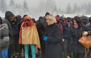 Dunja Mijatović u migrantskom kampu Vučjak